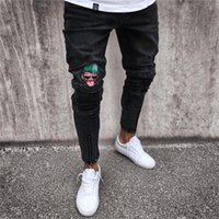 High Street Mens Moda Bordado Jeans Casual Slim-Fit Impreso Jogger Mens Biker Jeans Alta Calidad Pantalones largos Raya Lateral