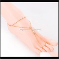 Body Jewelry1 Pcs Crystal Barefoot Sandals Anklet Bracelet For Women Rhinestone Bridal Toe Ankle Foot Chain Beach Boho Jewelry Drop Delivery
