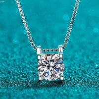 Passed Diamond Test Perfect Moissanite Cut 1-2CT 4 Cute Necklace 925 Sterling Silver Love Wedding Gift Chains