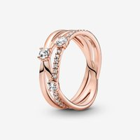 100% 925 Sterling Silver Sparkling Triple Band Ring For Women Wedding Rings Fashion Jewelry