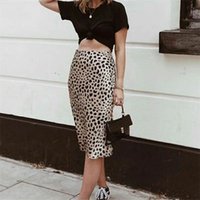 Women Silk Satin The Naomi Wild Things Leopard Print Sexy Elastic High Waist Easy 90's Slip Midi Skirt 210408