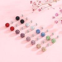 Stud 925 Sterling Prata Cristal Zircão Pequenas Bola Brincos Para As Mulheres Moda e Elegante Shambhala Completo Diamante