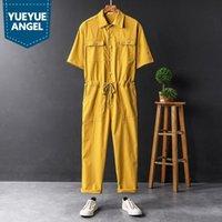 Men's Pants Harajuku Summer Hip Hop Short Sleeve Single Breasted Mens Jumpsuits Drawstring Waist Pockets Casual Loose Male Cargo Overalls