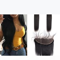 Indian Virgin Human Hair Extensions Straight Hair 2 Bundles With Lace Frontal Free Part 13X4 Frontal Closure With Bundles Natural Color