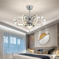 Light Luxury Leafless Fan Chandelier Crystal Living Room Lamp Simple Dining Bedroom Lighting Electric Integrated Ceilin Ceiling Fans
