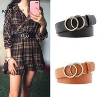 Fashion Double Round Belt Gold Sier Buckle Waist Belts For Women Leather Belt Ladi Jeans Drs Accsori ceinture femme