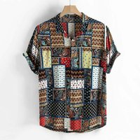 Men's Casual Shirts Summer For Men Streetwear Vintage Ethnic Style Printing Harajuku Mens Short Sleeve Stand Collar Blouse