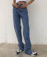 Frauen Jeans Gerade Bein Weibliche Jean Pants Baggy Hohe Taille Frauen Mode Beiläufige lose undefinierte Hose