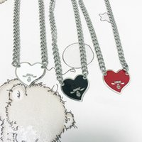 PRA European American Street Fashion heart-shaped letter Chokers necklace men and women cold wind hip hop silver clavicle chain net red explosion high quality