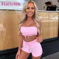 Karlofea Yeni Tatil 2 Parça Şort Set Güzel Kadın Kızlar Yaz Casual Street Giyim Şık Tüp Üst Ve Kısa Lounge Suit Cloth1