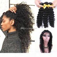 Bundles de cheveux de vague profonde avec 360 bandes de dentelle à bandes réglables de la dentelle Devp Wave Cheveux Bundles avec dentelle frontale 22.5.4.2