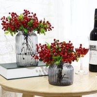 장식 꽃 화환 1 번들 인공 블루 베리 버드 식물 식물 가짜 식물 실크 잎 베리 웨딩 홈 파티 장식