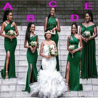 South African Bridesmaid Dress Mermaid long mixed style frill Bridesmaid Dress sleeves green wedding dress J0529
