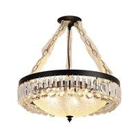Modern Luxury Crystal Led Ceiling Lamp For Living Dining Room Kitchen Indoor Black Warm Lustre Round Chandelier Lighting Fixture Lights