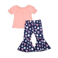 Kids Clothing Sets Girls Outfits Baby Clothes Child Suits Children Wear Summer Cotton Short Sleeve T-shirts Love Flared Trousers 2-7Y B5170