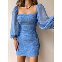 Casual Dresses Women Square Collar Puff Sleeve Slim Fits Sheath Mini Dress Pleated Tight Chiffon French Style Bodycon