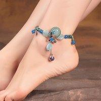 나비 꿀벌 앵틀 파란색 돌 꽃 발목 팔찌 여성을위한 조정 가능한 발 보석 여름 액세서리 여성 여자 친구 선물