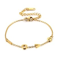Charm Bracelets Fashion Letter Stainless Steel Round Black Beads Weave Jewelry For Women Men Gift