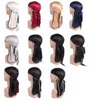 Beanies Silky Durag Men's Turban Cap Scarf Muslim Doo Rag Pirate Hat Women Headwear Breathable Hip Hop Hair Accessories Wholesale