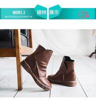 boots martin boot shoes women girls knee autumn Winter 2021 autumn winter new fleece British style vintage ankle fashion round toe women's versatile brown black 5 10 4