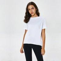 Yogatops T-Shirt Katı Renkler LU-57 Kadınlar Moda Açık Yoga Tankları Spor Koşu Spor Giysileri