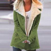 Women's Wool & Blends Winter Women Coat Velvet Padded Warm Parka Casual Outwear Hooded Big Lapel Plush Down Jacket For Female#1127