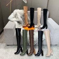 Femmes Designer Bottes Overou-genou Boot Designers Véritable Talons épais Chaussures Chaussures Mode Chaussure Hiver Chute avec Box EU: 35-41 par Chaise02 01