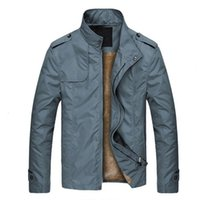 Men's Trench Coats Solid Color Two Pockets Men Coat Warm Plush Lining Stand Collar Jacket For Autumn Winter