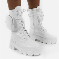 Women Boots Fashion Chunky With Pocket Platform Lace Up Ankle Female Punk Sole Pouch Heels Botas Mujer 211021