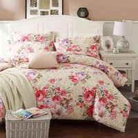 Vintage Bloom Flowers Leaves Duvet Cover Bed Sheet Set Brushed Cotton Ultra Soft Heavyweigh Warm Queen King size Bedding Sets