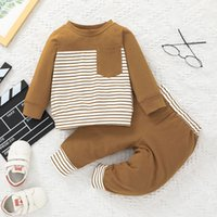 Baby Clothing Set Stripe Pocket Tops+Trouser Outfits Fall 2021 Kids Boutique Clothes 0-2T Infant Toddlers Boys Cotton Long Sleeves Suit Casual