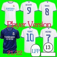 Versión del jugador Camiseta Real Madrid Soccer Jerseys 21/22 Benzema Modric Kroos Soccer Shirt 2021/2022 Inicio Blanco F.Mendy Men Alaba Uniforme de fútbol personalizado S-4XL