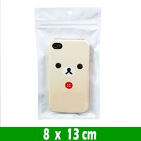 500 stks 8 * 13cm Samll Clear White Pearl Plastic Poly Opp Verpakking Zakken Zipper Lock Retail Pakketten Sieraden Voedsel PVC Bag Hang Gat Package Pouches