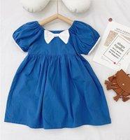 2021子供の服の素敵なドレス弓の半袖デニムブルー100%コットンの女の子の子供エレガントなインディースのドレス