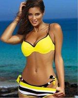 Bras Sets Turmeric Push Up Sexy Bikinis Plus Size Swimwear Women Striped Swimsuit Female Bathing Suit Summer Bra