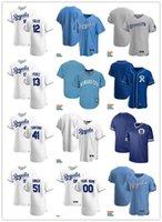Männer Frauen Jugend 13 Salvador Perez 41 Carlos Santana 51 Brady Sänger 12 Jorge Soler Custom Baseball Jersey Blank weiß blau grau