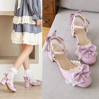 Femmes Japonais Style Mary Jane Chaussures Petite Taille 33 Cosplay Summer Toe Toe Bowknot Sandales Slingback High Talons Lolita