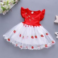 Girl's Dresses Lace Patchwork Baby Girl Dress Summer For Toddler Sleeve Strawberry Embroider Tulle Princess Clothes Vestidos