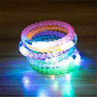 Iluminación de acrílico burbuja bocadillo intermitente pulsera multicolor LED luces luces intermitentes brazaletes brazaletes brazaletes fiesta de pulsera resplandor en la joyería de la barra oscura G56A6M3