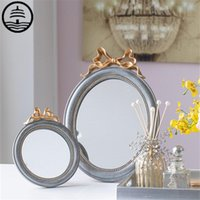Miroirs Bao Guang Ta Retro Imitation Miroir Miroir Mur Mural Décoration 3D suspendue Résine créative Chambre à coucher Maquillage Tabletop Account Home Décors R5783