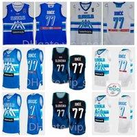 Slowenien Olympische Trikots 2021 Tokyo Basketball Luka Doncic 77 10 Mike Tobety 11 Jaka Blazic 6 Aleksej Nikolic 7 Klemen Prepelic 27 Ziga DIMEC White Blue Navy