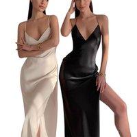 Femmes Camisole Robe Avec Split Split, Sexy Col V-Col V Vêtements d'été, Apparence exquise / Night / Anniversaire Casual Dres