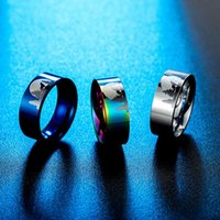 Cluster Rings Jewelry Woman Accessories Stainless Steel Lone Wolf In Moonlight Mens Fashion Timber Hip Hop Silver Gold