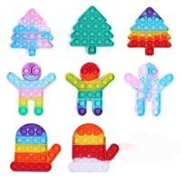 Nya Jul Fidget Leksaker Push Bubble Silikon Tie Dye Xmas Barn Santa Decompression Toy Rainbow Gloves Tree Kids Stress Reliever Party