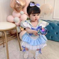Lolita Style Baby Mädchen Spitze Falbala Prinzessin Kleid Kindertag Party Kleider mit Socken Bogen Shorts 4 stücke Kinder Cosplay Kleidung A6418