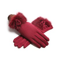 Five Fingers Gloves Winter Women Suede Leather Bow Touch Screen Glove Fur Wrist Thick Velvet Windproof Warm Cycling Driving Mittens J22