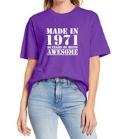 Women's T-Shirt Women 1971 Shirts 50 Years Of Being Awesome 50th Birthday Gifts For Funny Unisex T Shirt Cotton Tee Oversize