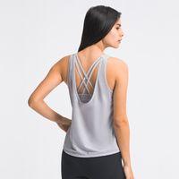 Lose und atmungsaktive Tank Camis U-förmige Bluse zwei in einem Kreuz-Back-Unterstützung Stoßfest Sport-BH Casual Fashion Yoga-Tops