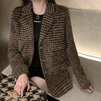 Automne Hiver Fashion Fashion Eelgant Plaid Costume Blazer Woolen Coat pour femme Slim Slim-poitrine Collier Notched Collier Veste Femme Cuissures Femmes Blaze