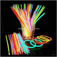Другие события Флуоресцентные браслеты Ожерелья неоновые одноразовые свечения палочки Xmas Party Stildies Light Stick BH4003 HTB6 BIRHV